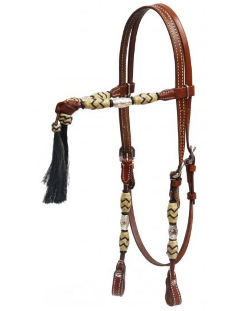 Showman ® silver beaded futurity knot headstall with horse hair tassel.