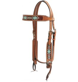 Showman ® Light chocolate Argentina cow leather headstall with beaded inlays.
