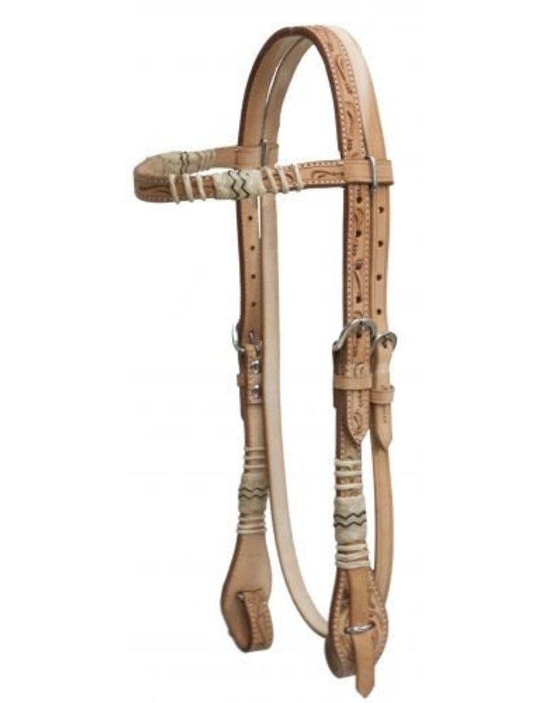 Showman ® double stitched floral tooled rawhide braided browband headstall with quick change bit connectors and double cheek adjustment.