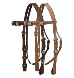 Leather double stitched headstall with clear rhinestone conchos.