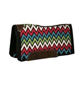 Showman ® memory felt saddle pad with woven wool Chevron design top.