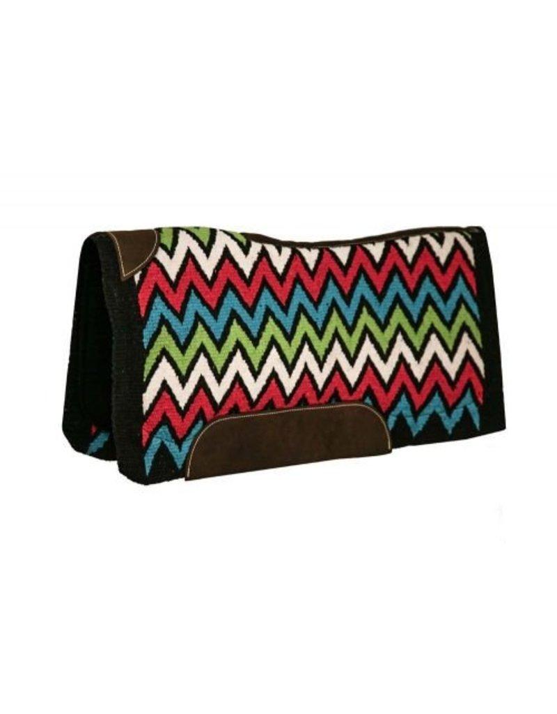 Showman ® memory felt saddle pad with woven wool Chevron design top.