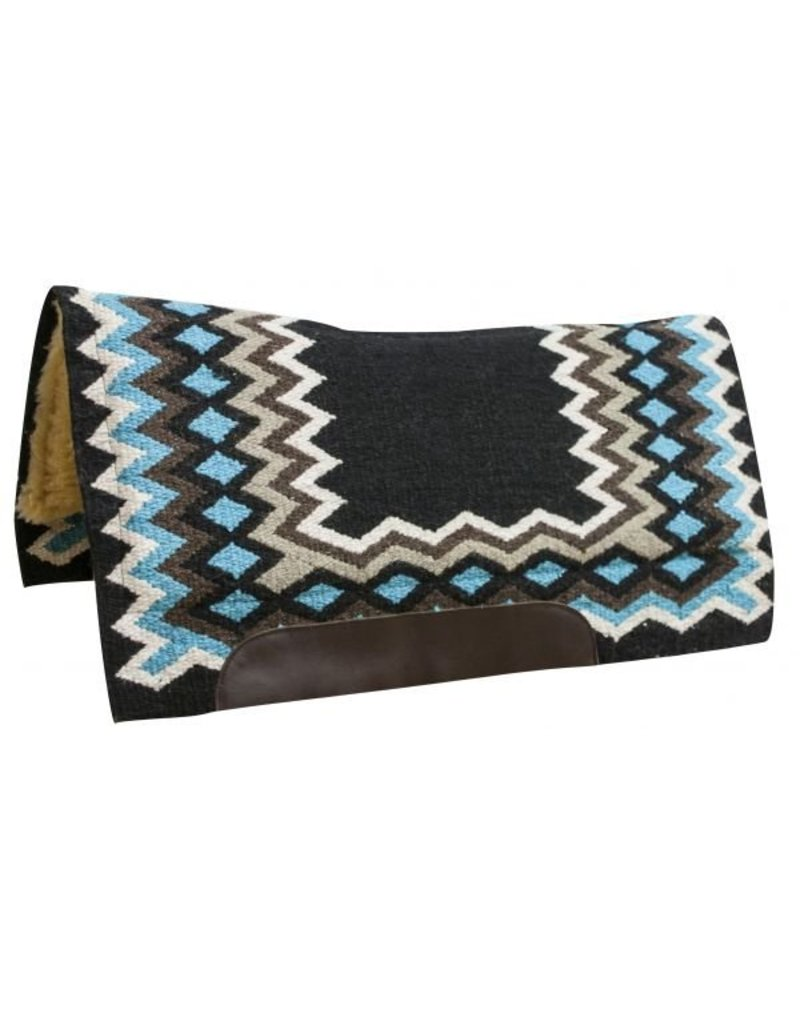 Showman ® Contoured cutter style wool top saddle pad with diamond pattern.