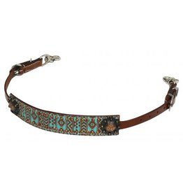 Showman ® Teal and brown Navajo diamond print wither strap.