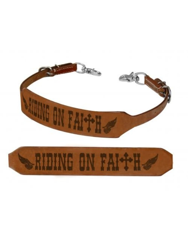 Showman ® Riding on Faith branded wither strap.
