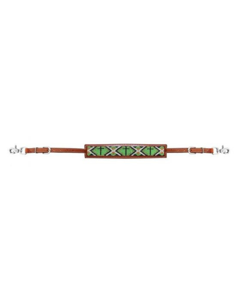 Showman ® Medium leather wither strap with beaded inlay.