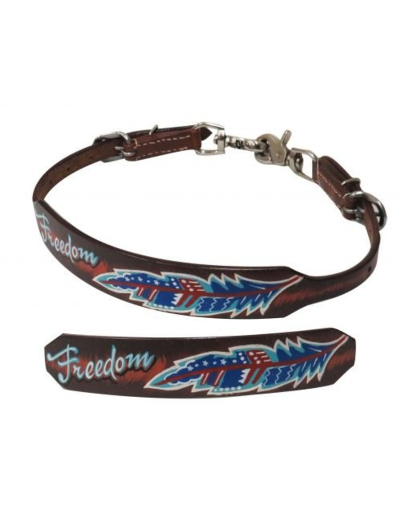 "Showman ® Medium leather wither strap with painted "" Freedom"" design."