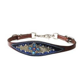 Showman ® Metallic gold and royal blue overlay wither strap with bejeweled concho.