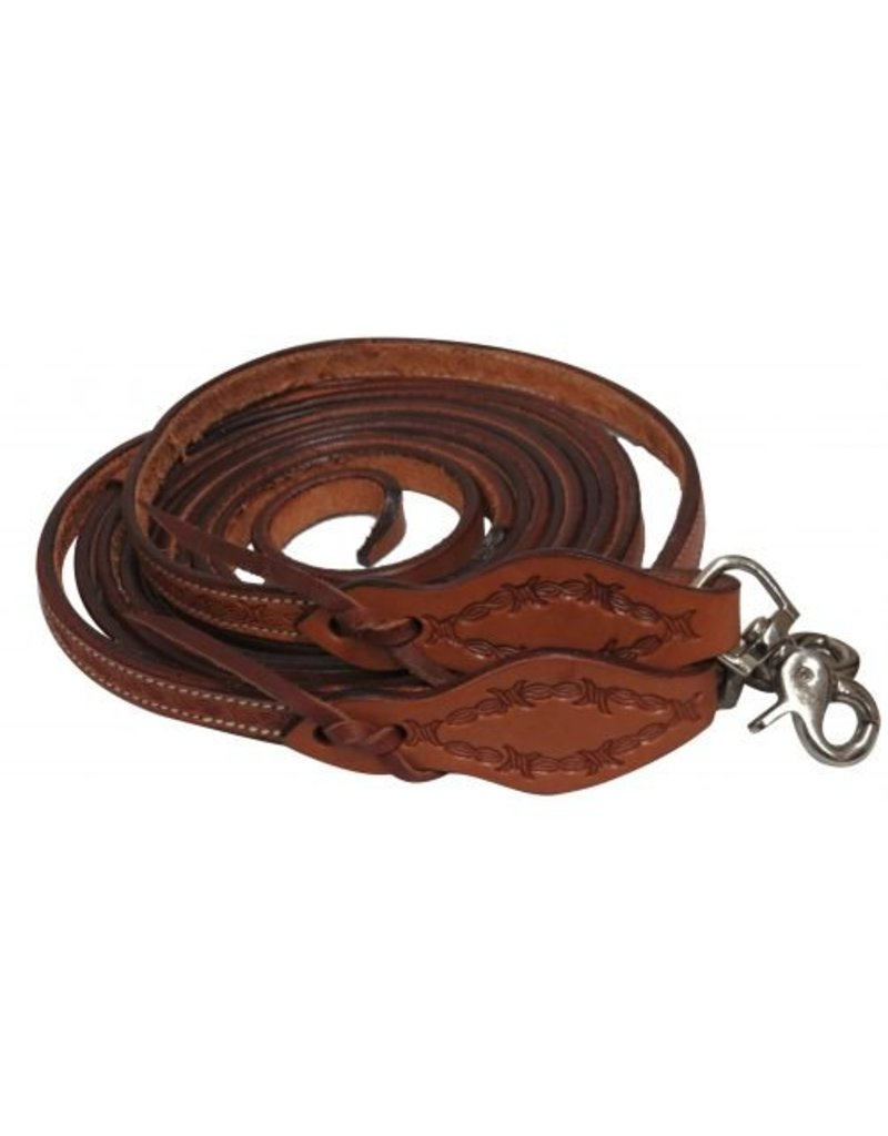 Showman ® Argentina cow leather barbed wire tooled split reins with scissor snap ends.