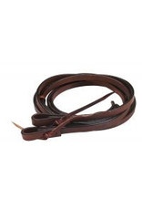 Showman ® soft leather split reins with tie-on bit loop ends.