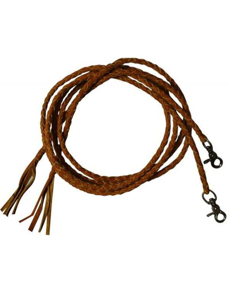 Leather braided split reins with scissor snap ends.