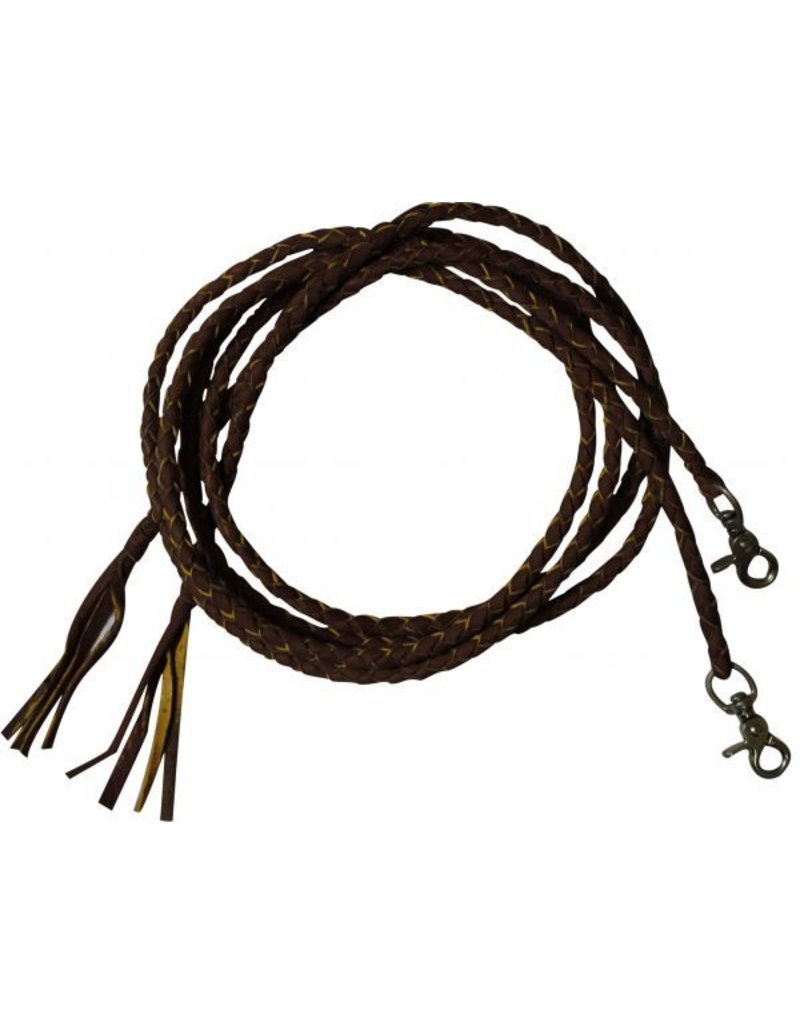 Showman ® Leather braided split reins with scissor snap ends.