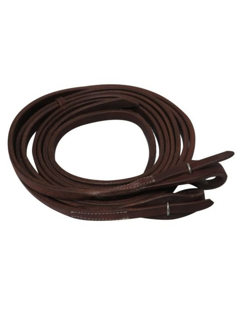 Showman ® Oiled harness leather split reins with quick change bit loops.