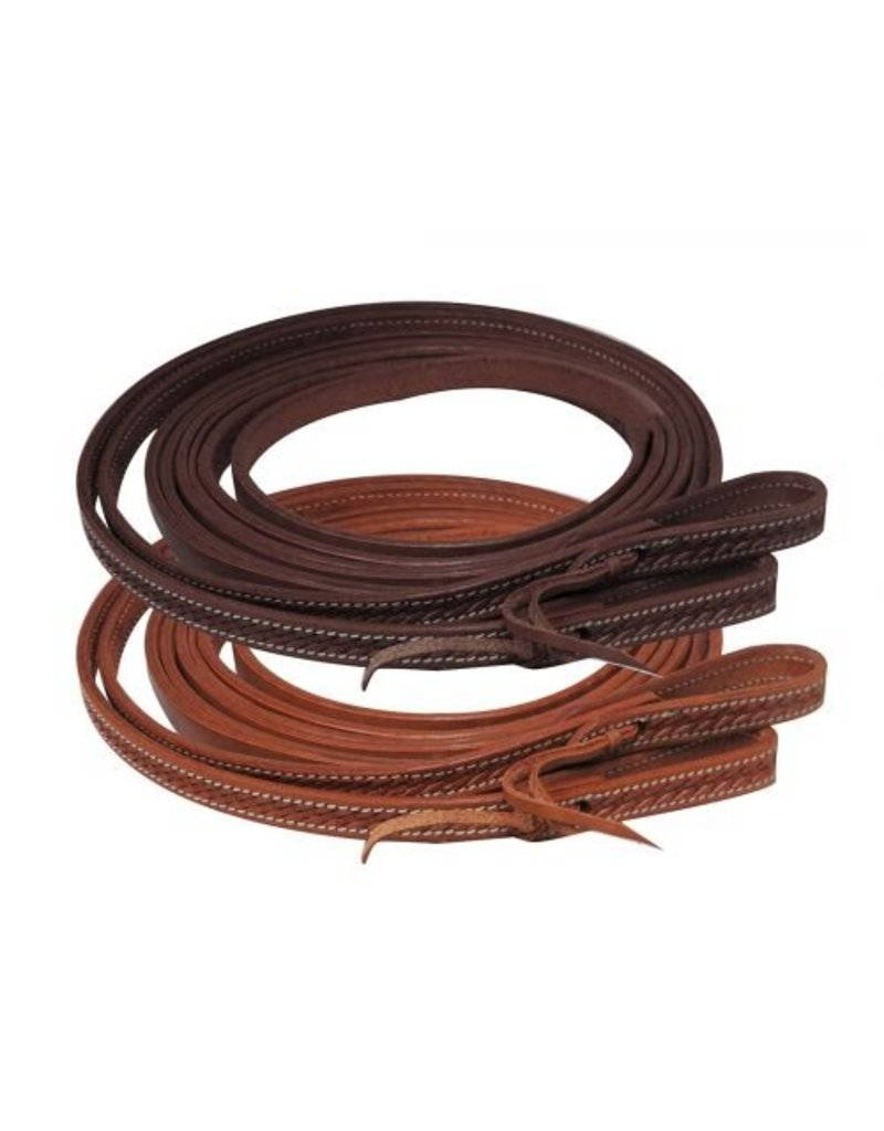 Showman ® Argentina cow leather basket weave tooled split reins.