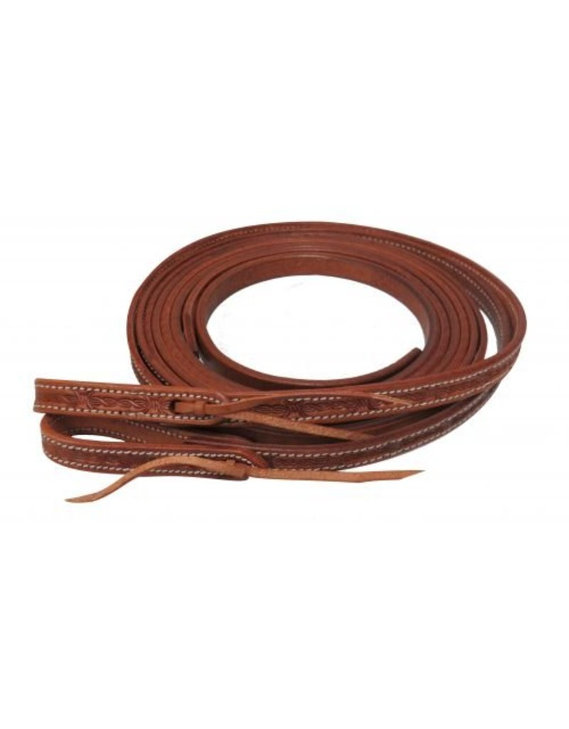 Showman ® Argentina cow leather barbed wire tooled split reins.