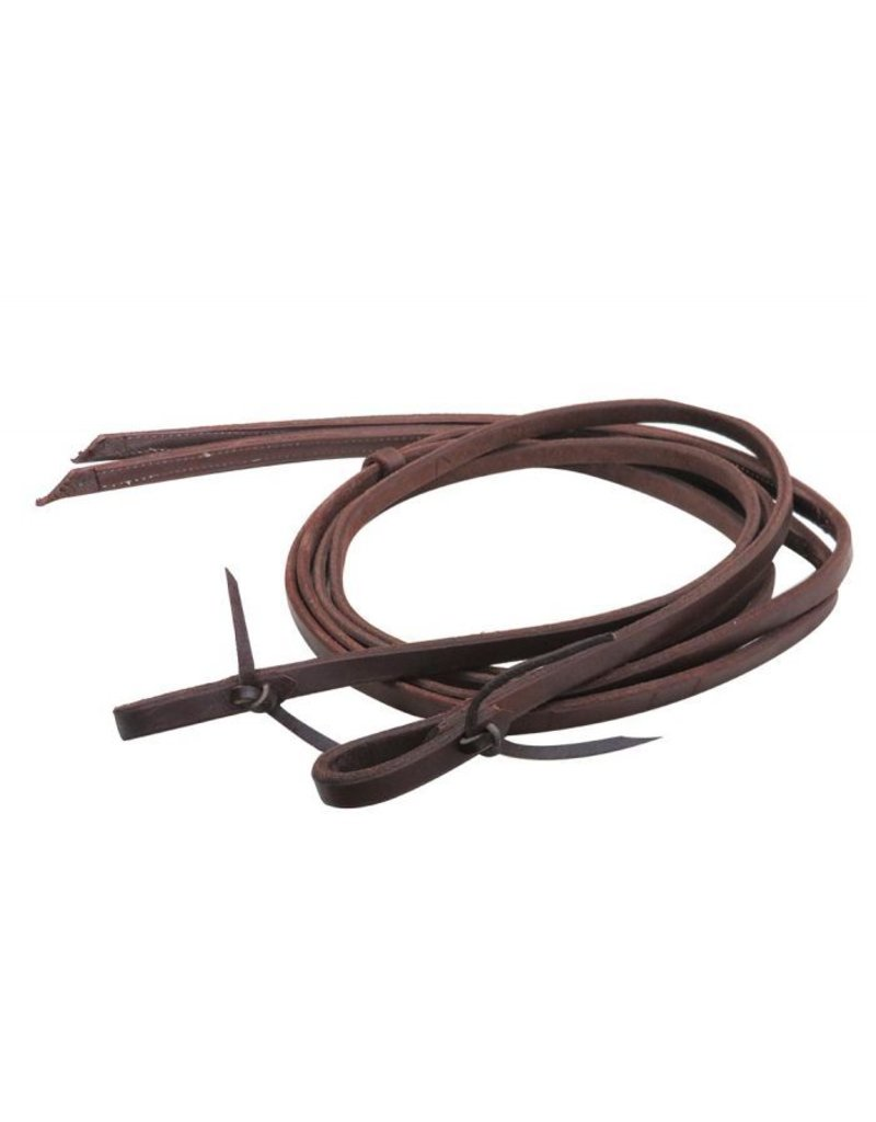Heavy oiled harness reins with weighted, stitched ends.