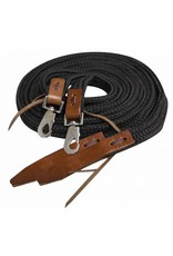 Showman ®  braided nylon reins with leather popper ends and scissor snaps.