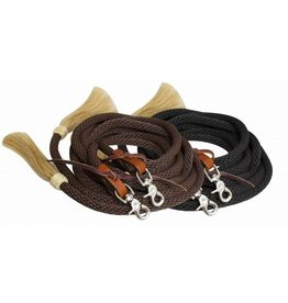 Showman ® round braided nylon split reins with horse hair ends.