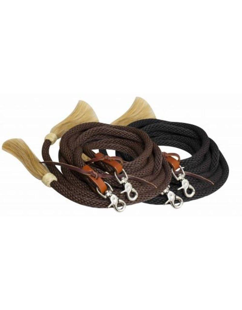Showman ® round braided nylon split reins with horse hair ends.