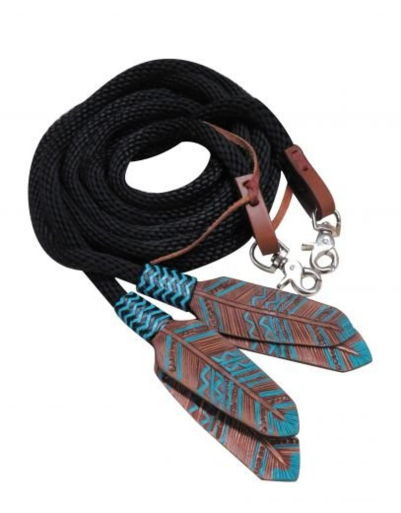 Showman ® round braided nylon split reins with teal painted feather popper.