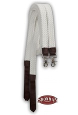 Showman ®  long white cotton split reins with nylon poppers and scissor snap ends.