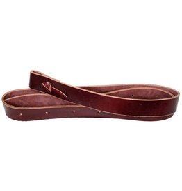 Showman ® premium leather latigo tie strap with punched holes and leather tie strings.