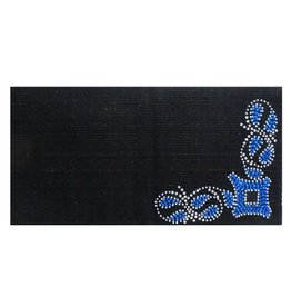Showman ® 100% Woven New Zealand wool saddle blanket with crystal rhinestone blue diamond design.