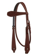 Showman ® Showman ® Argentina Cow Leather Headstall with Basketweave and Floral Tooling.