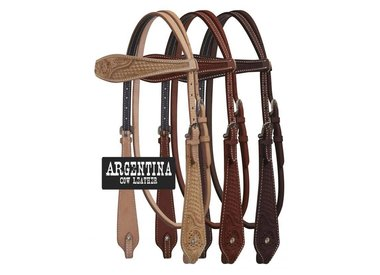 Tooled and plain leather headstalls