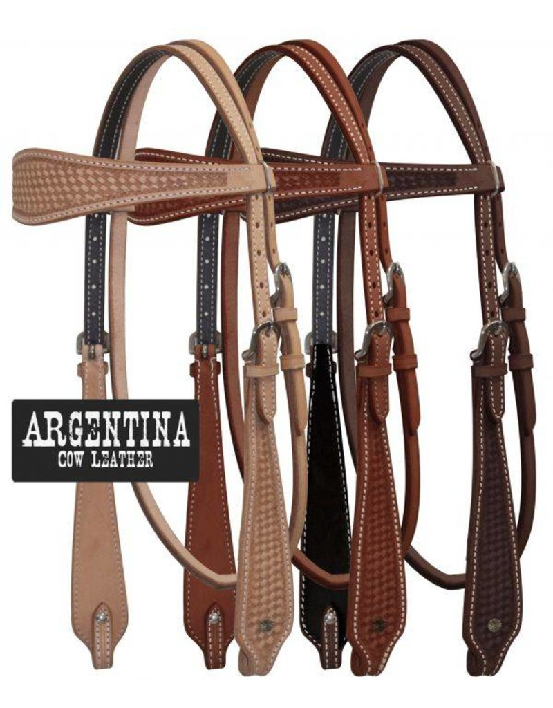 Showman ® Showman ® Argentina Cow Leather Headstall with Basketweave Tooling.
