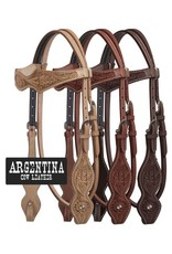Showman ® Showman ® Argentina Cow Leather Headstall with Floral Tooling.