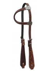 Showman ®   Showman® Argentina cow leather single ear headstall. This headstall features medium Argentina cow leather with filigree tooled deisgn.