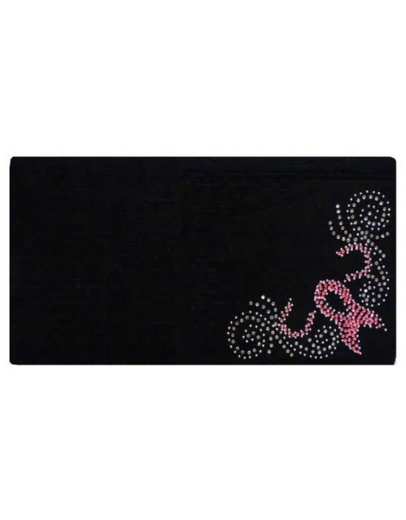 Showman ® 100% Woven New Zealand wool saddle blanket with crystal rhinestone pink ribbon design.
