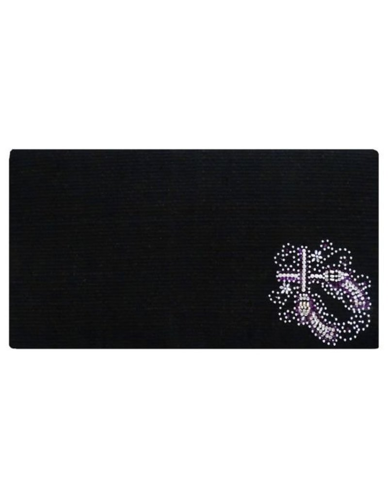 Showman ® 100% Woven New Zealand wool saddle blanket with crystal rhinestone crossed guns design.