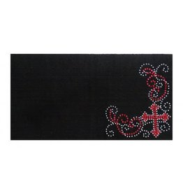 Showman ® 100% Woven New Zealand wool saddle blanket with crystal rhinestone pink cross design.