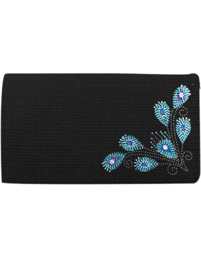 Showman ® 100% Woven New Zealand wool saddle blanket with crystal rhinestone peacock feather design.
