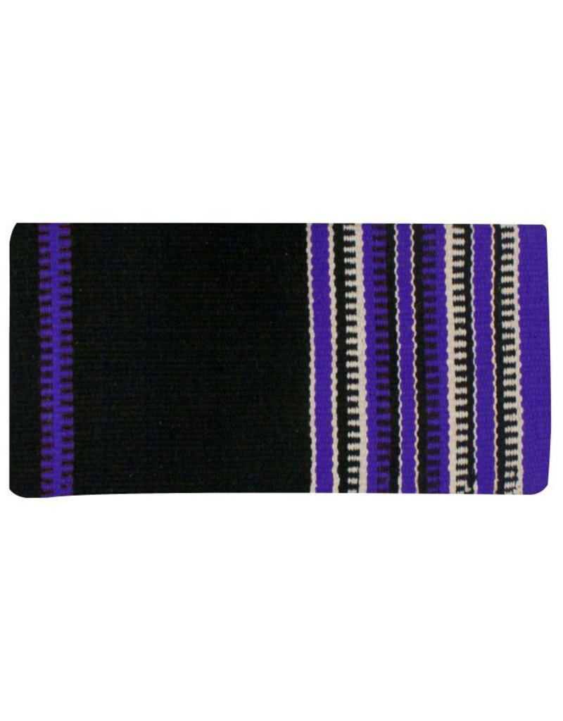 Wool saddle blanket with colored zipper design.
