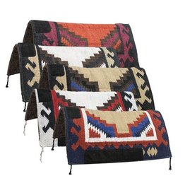 "Navajo felt bottom pad. This pad features 1"" blended felt bottom with  Navajo design top with wear leathers on withers and sides."