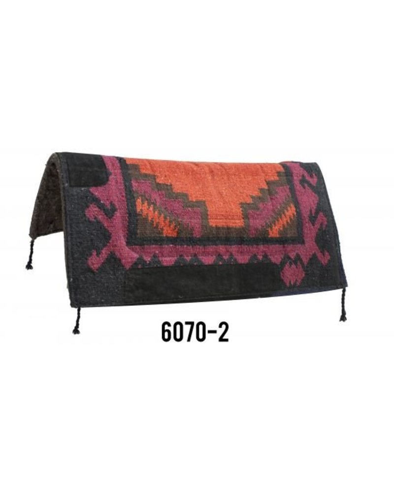 """Navajo felt bottom pad. This pad features 1"""" blended felt bottom with  Navajo design top with wear leathers on withers and sides."""