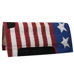 Showman ® American flag pad with Kodel fleece bottom and suede wear leathers.