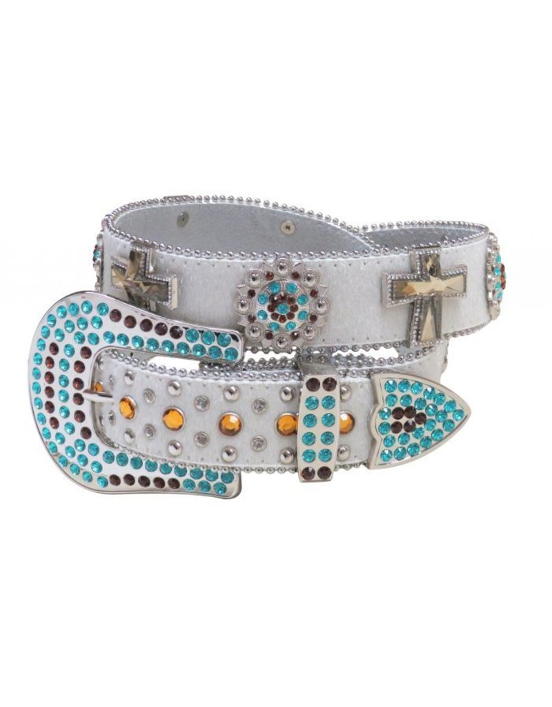 Showman ®  Western style bling belt with removable rhinestone buckle.