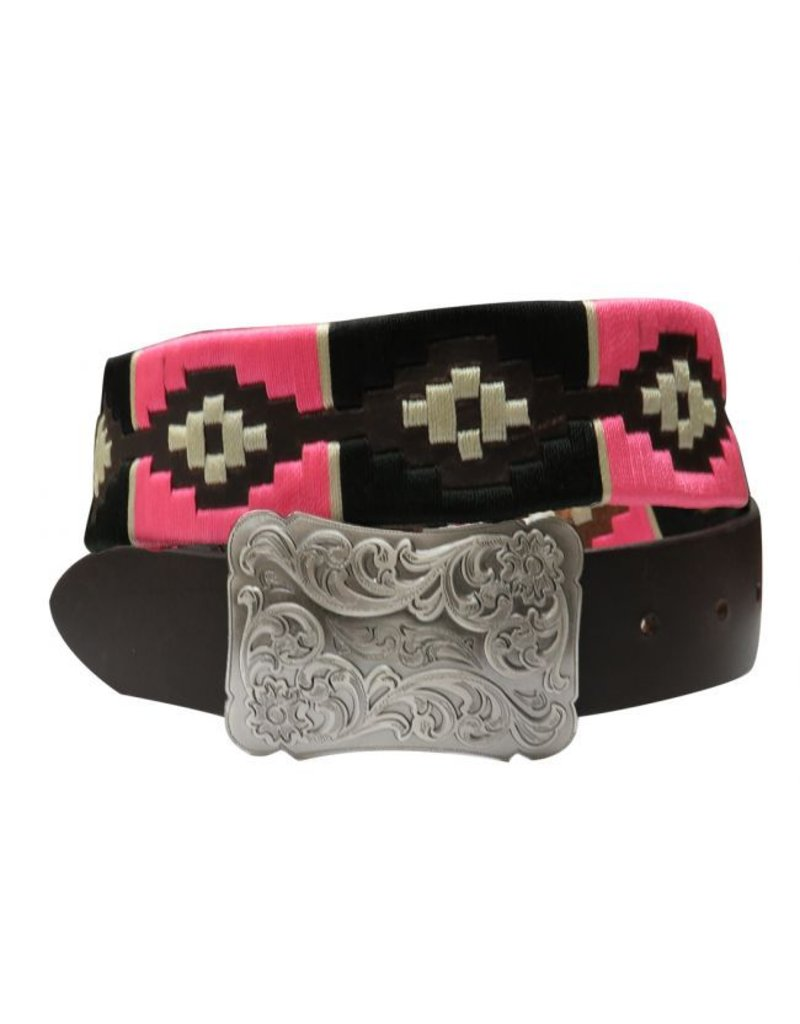 Showman ® pink and cream wrap embroidered belt.