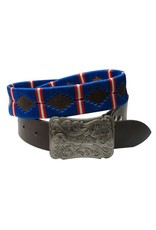 Showman ® Blue, red and  white wrap embroidered belt.