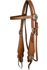Showman ® Showman™ Basketweave tooled wide cheek leather headstall with reins.