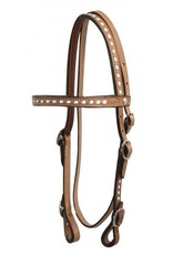 Showman ® Showman™ Leather buck stitched headstall with reins