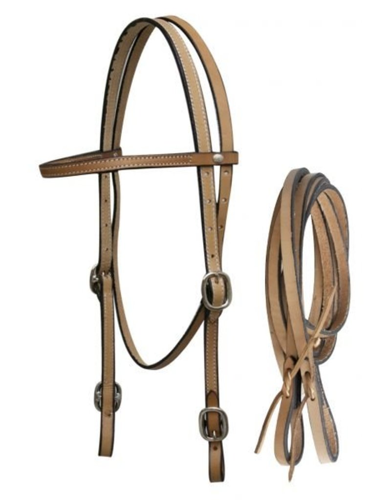 Showman ® Showman™ Leather headstall with reins.  Made by Showman products.