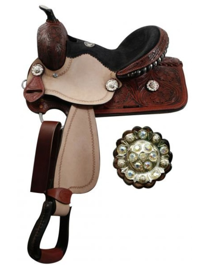 Double T barrel saddle with fully tooled pommel, skirts and cantle.