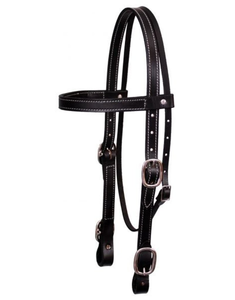 "Showman ® American made 1"" Leather double stitched draft horse size headstall with buckled ends."