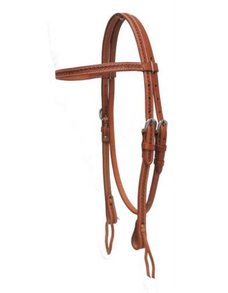 Showman ® Showman ® Argentina cow leather basket weave tooled headstall.