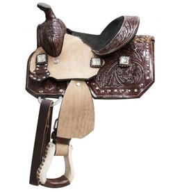 "Double T 8""pony saddle with floral tooled leather and crystal rhinestone conchos."